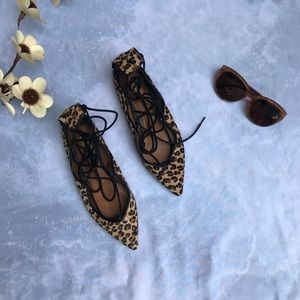 Zara Leopard Print Lace Up Flats